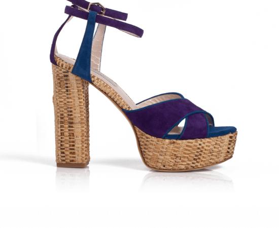 Erato Blue Raffia Sandals