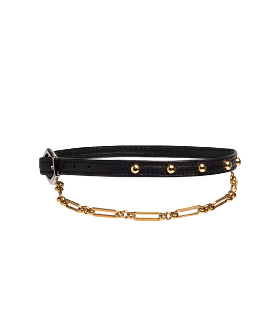 Leather Anklet pvd gold chain I