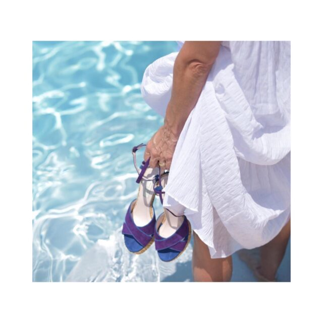 Enjoy, love, dance with E R A T O raffia sandals! and ... make this summer your best ! 💙💜  iraffia sandals n ultra elegant purple and French blue fine suede leather and a magic comfortable plateau!  #raniakroupiluxuryshoes #raniakroupiluxuryshoes #erato #sandals #raffiasandals #luxurysandals #handmadeinathens