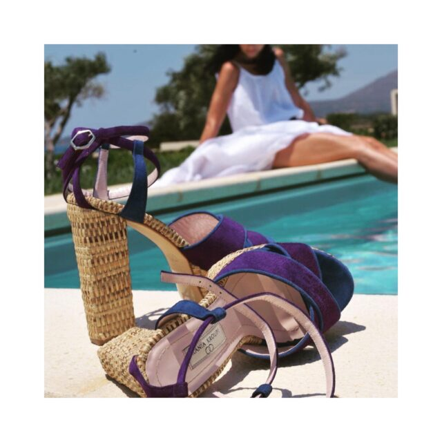 I play with you in the shadows of blue ... E R A T O   E R A T O raffia sandals blue +purple fine suede leather  #raniakroupiluxuryshoes #raniakroupishoes #raniakroupisandals #raffiasandals #plateau #platforms #resortstyle #resortwear #vacationsstyle #aegean #handmadeinathens #greekdesigner