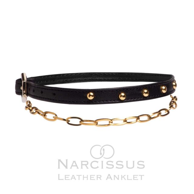 N A R C I S S U S  Leather Anklet  New Ultimate Foot Accessory  Inspired by mythological #narcissus this avant-garde  #leatheranklet embellishes your ankle.  Offered in a uniques gift packaging , you can get it with click away or DHL ASAP before Xmas.  With any Narcissus Leather Anklet you get, is given a portion of sales to ALMA Zois, supporting the women with Breast concern.  #raniakroupishoes  #narcissusanklet #leatheranklet inspired by #narcissus #raniakroupianklet #chainanklet support women #almazois #atelierraniakroupi