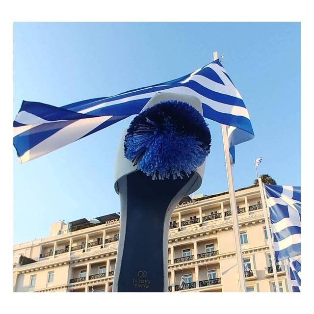 "G R E E C E celebrates 200 th  A n n i v e r s a r y  1821 - 2021  MADO slide sandal  inspired by one of the most powerful women of the Greek revolution of 1821 and ""tsarouhi""  the traditional greek footwear of that era, characterized by a large pompon.  #greekrevolution #1821 #greece #blueandwhite. #mado  #greekwomen #heroine #tsarouhi #greekproud #slidesandals #raniakroupishoes"