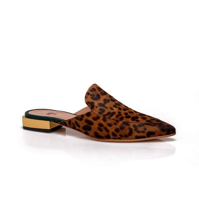 A R T E M I S  Leopard Mules   Fine Leopard Pony Skin Cracked Gold and Seductive Green  Elegant + classy  #raniakroupiluxuryshoes #raniakroupishoes