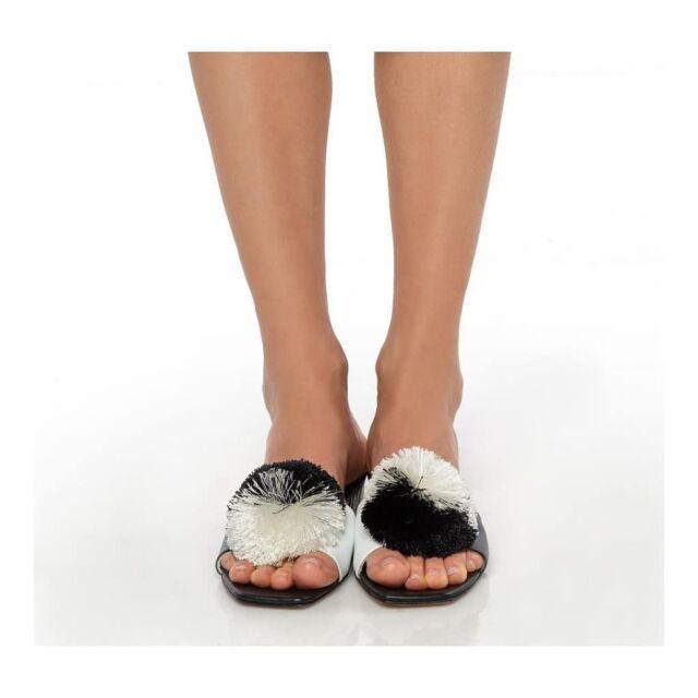 M A D O  slide sandals  Playful black & white  Inspired by #madomavrogenous hetoine of #1821 celebration #1821_2021 #tsarouhi #madosandals #trieste #mykonos #paros #handmadeinAthens #raniakroupishoes #raniakroupiluxuryshoes you can find them in our new atelier in #Kolonaki
