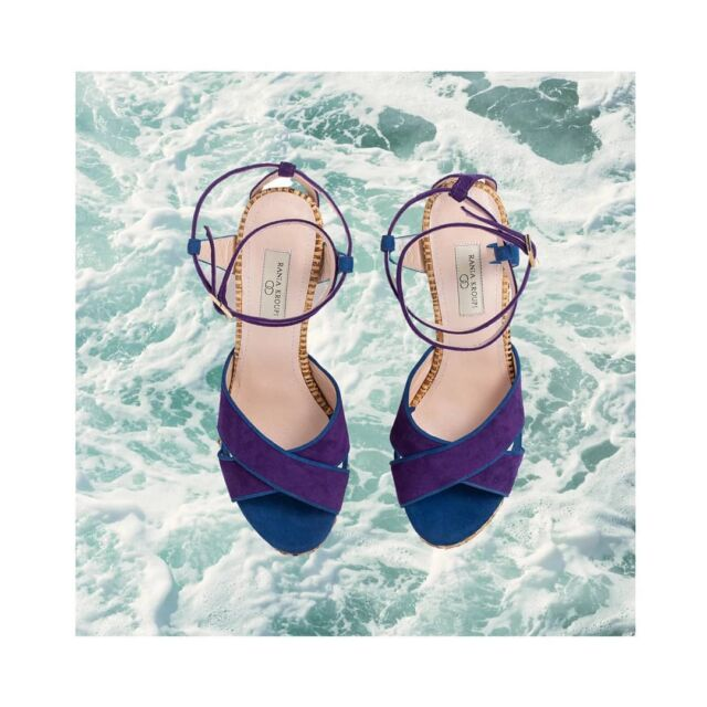 E R A T O  Dive in your wish  Resort time  #Eratosandals. named by the nymphe #Erato  Made in Athens by #raffia and finest. blue and purple siede leather  #raniakroupishoes #raniakroupiluxuryshoes #raffia #madeinathens #greekdesigner